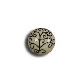 Door knob, ivory coloured porcelain with d