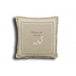 Square cushion, removable cover 40x40 'histoire de cuisine'