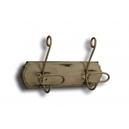 Classic double wall hook, wood support distressed taupe finish 27x17