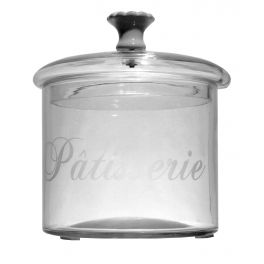 Jar with lid, porcelain handle and glass 'patisserie' d.12 h.13